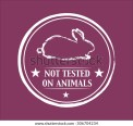 Not Tested on Animals Logo  for Cosmetic Products and more.  Rabbit Line Figure Clip Art. - stock vector