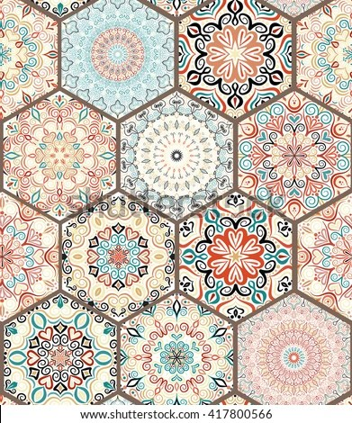 Luxury Oriental Tile Seamless Pattern Colorful Stock