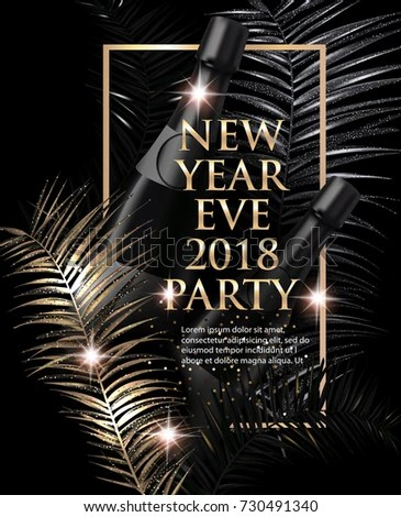 New Year Eve Party Invitation Card Stock Vector  Royalty Free     New year eve Party invitation card with christmas tree branches  Gold and  black  Vector