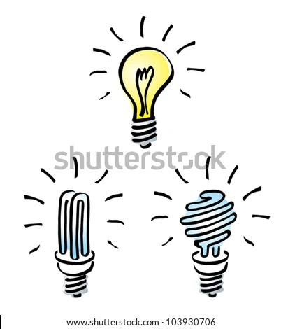 Set Hand Drawn Cartoon Light Bulbs Stock Vector 103930706