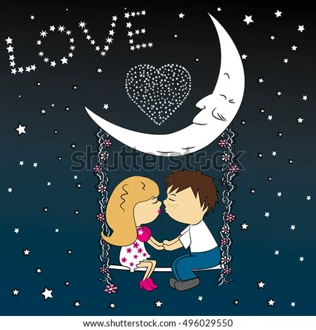 Download Love Couple Sitting Night On Swing Stock Vector 496029550 ...