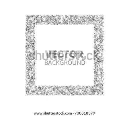 Festive Silver Sparkle Background Glitter Border Stock