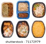 stock photo : Collection of Six TV Dinners Isolated on White.