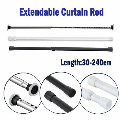 curtains blinds accessories spring loaded tension curtain rod rail pole extendable telescopic voile 30 240cm globalgym parsberg com