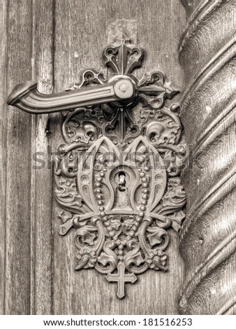 Detail Door Knob Keyhole Storkyrkan Stockholm Stock Photo