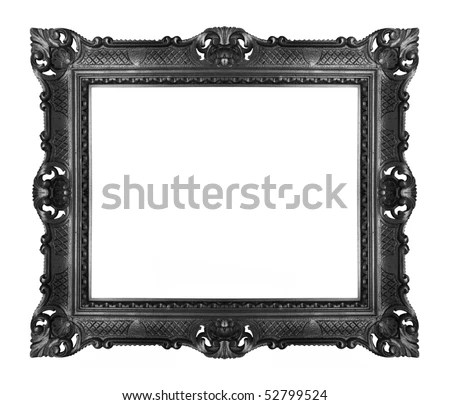 antique black frame isolated - stock photo