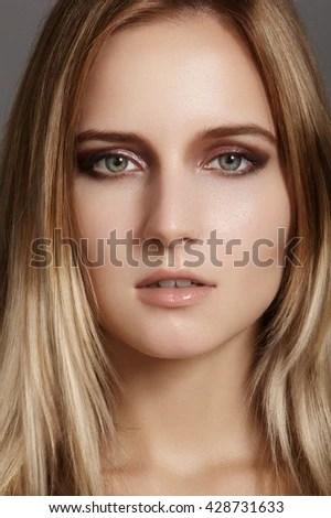 portrait beautiful blond girl on white stock photo shutterstock