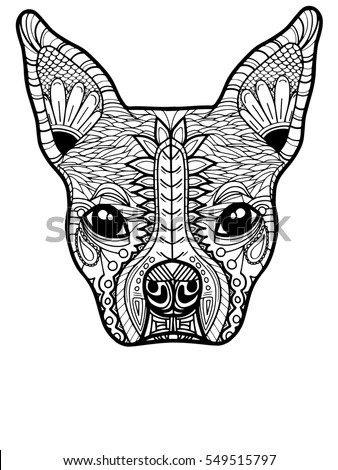 Hand Drawn Vector Portrait French Bulldog Stock Vector