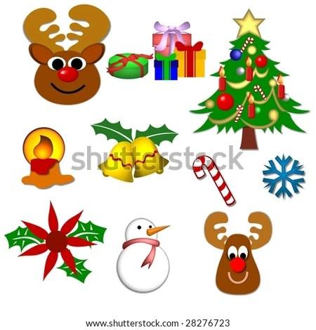 Christmas Day Holiday Sketch Set Santa Stock Vector