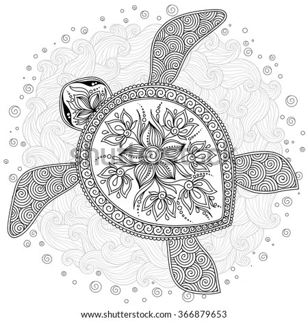 coloring book pages for kids and adults decorative graphic turtle