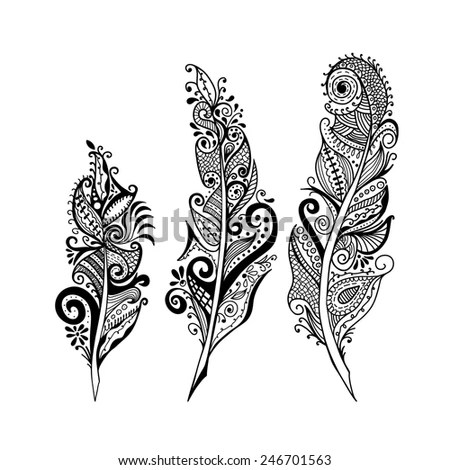 Decorative Feathers Stock Vector