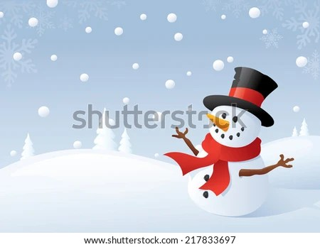 Snowman and snowy backdrop. - stock vector