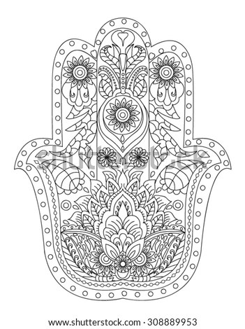 hand drawn henna abstract mandala flowers and paisley doodle coloring