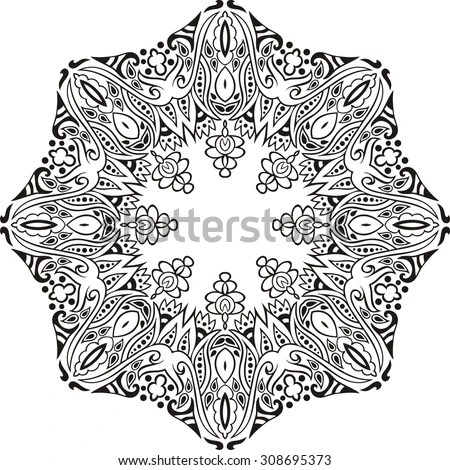 hand drawn christmas lace frame coloring book doodles paisley