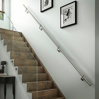 Stair Parts Handrails Brushed Satin Polish Stainless Steel   Pre Assembled Stair Railing   Deckorators   Balusters   Pressure Treated   Stainless Steel   Wood