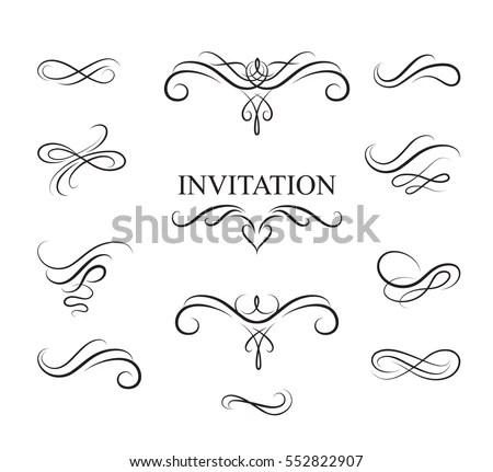 Wedding invitation flourish vector deweddingjpg calligraphic flourish design elements page decoration stock vector stopboris Image collections