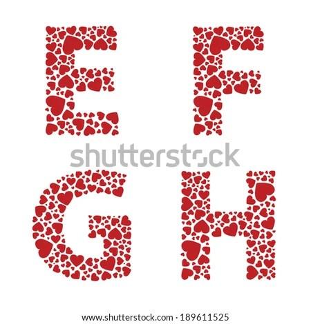 Download Efgh Heart Alphabet Letters Font Stock Vector 189611525 ...