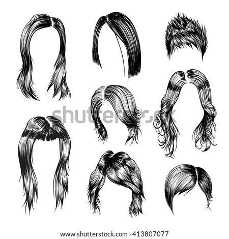 Fashion Woman Hairstyle Set Hand Drawn Stock Vector