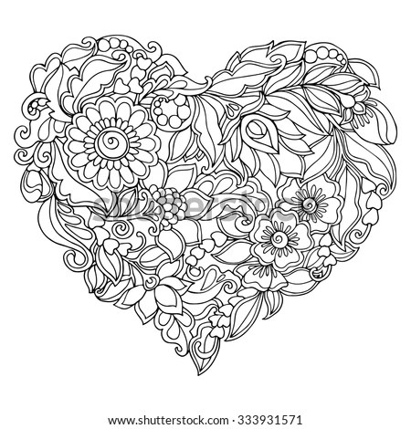 children coloring page with vintage flowers pattern stock vector