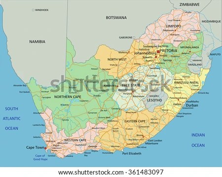 South Africa Highly Detailed Editable Political Stock Vector     South Africa   Highly detailed editable political map with labeling