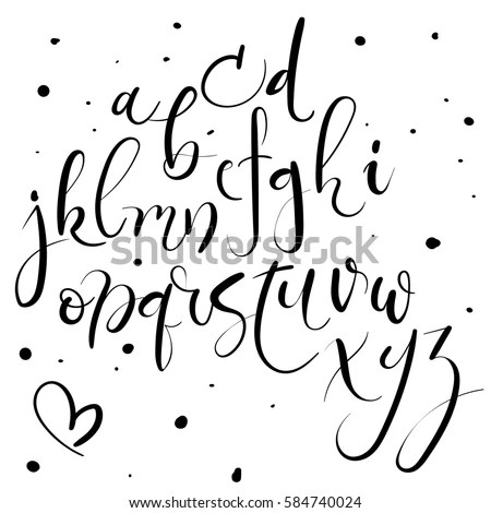Hand Lettering Alphabet Modern Calligraphy Font Stock Vector