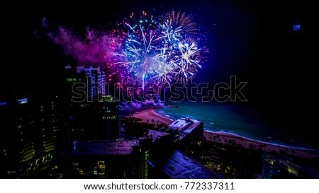 Miami New Years Eve Night Lights Stock Photo  Royalty Free     Miami New Years Eve Night lights city fireworks south beach bal harbor  florida