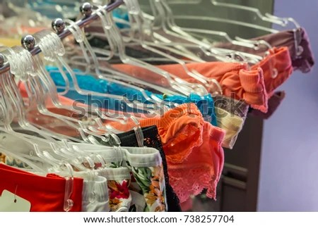 Closeup Underwear Hangar Shop Concept Shopping Stock Photo  Edit Now     Close up of underwear in a hangar shop  Concept shopping  Shallow depth of