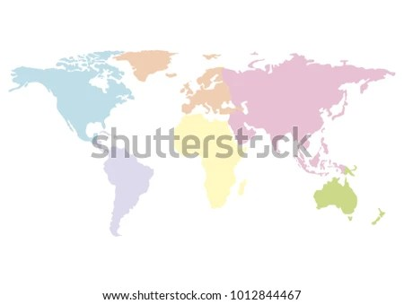 Pastel World Blank Map Isolated On Stock Vector 1012844467     pastel world blank map  isolated on white background