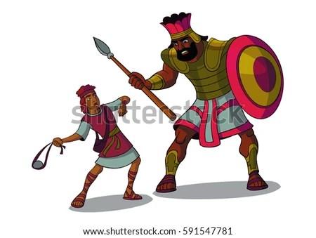 Illustration of David and Goliath