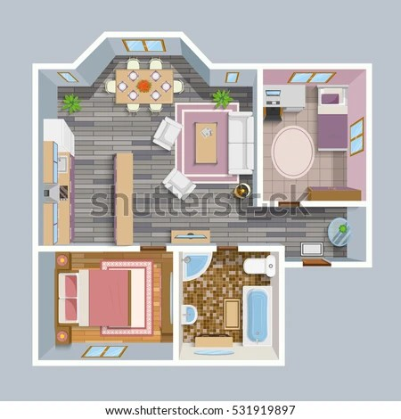 Architectural Flat Plan Top View Living Stock Vector