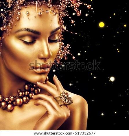 Beauty Fashion Model Girl Golden Makeup Stock Photo