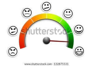 detailed illustration of a customer satisfaction meter with smilies, eps10 vector  stock vector
