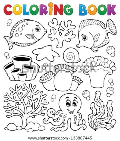 simple coral reef drawing coloring book coral reef theme 2 eps10