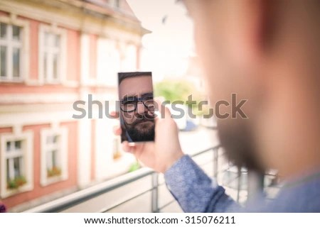 Old Man Looking Into Mirror Stock Images Royalty Free