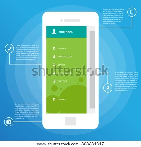 Mobile Wireframe App UI Kit Screen Stock Vector 308631317   Shutterstock Mobile Wireframe App UI Kit Screen  Sidebar menu screen  which can be used  in