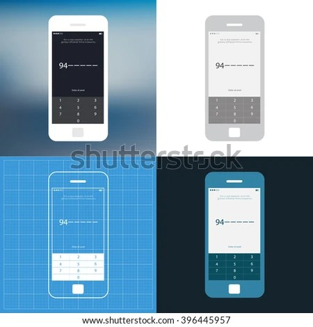 Mobile Wireframe App Ui Kit Number Stock Vector 396445957   Shutterstock Mobile wireframe app ui kit  Number security screen