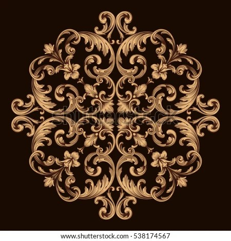 Gold Vintage Baroque Ornament Retro Pattern Stock Vector