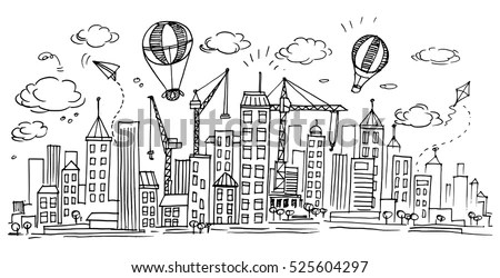 Hand Drawn City Sketch Your Designdrawn Stock Vector