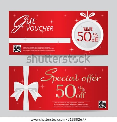 Red Christmas New Year Gift Voucher Stock Vector 318882677
