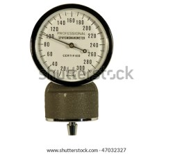 blood pressure guage isolated on white with clipping path at this size
