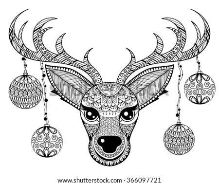 Zentangle Reindeer Face Chriatmas Decoration Balls Stock