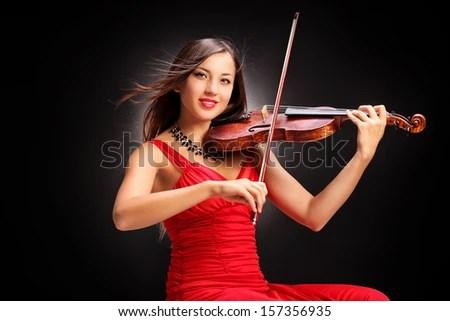 Beautiful Female Playing Violin Violinist Stock Photos Beautiful Female Playing Violin