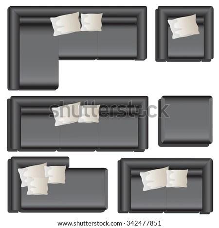 Furniture Top View Set 33 For Interior Black Sofa