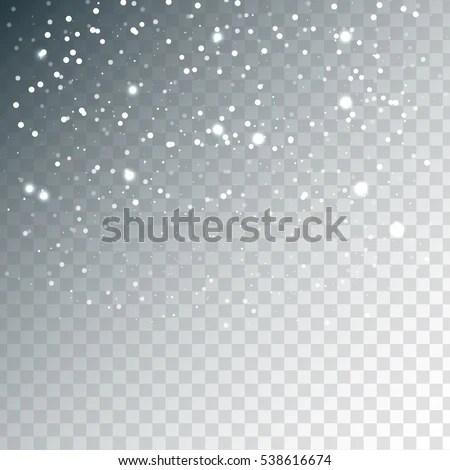 Random Falling White Snowflakes Transparent Sparkle Stock
