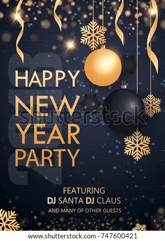 Merry Christmas Happy New Year 2018 Stock Vector  Royalty Free     Merry Christmas and Happy New Year 2018  Invitation to a party  Gold and  black