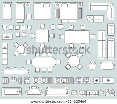 Top View Interior Line Furniture Icons Stock Vector