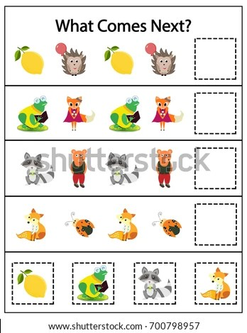 What Comes Next Kids Printable Game Stock Vector
