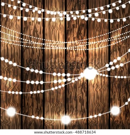 Set Glowing White String Christmas Lights Stock Vector