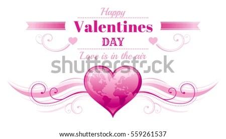 Happy Valentines Day Border Pink World Stock Vector