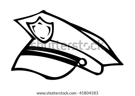 police hat coloring page police cap stock vector